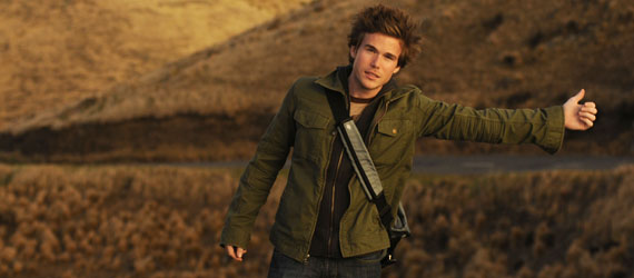 Colin Wright hitchhiking in New Zealand