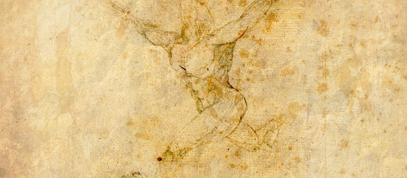 Sketch of a naked man running on parchment