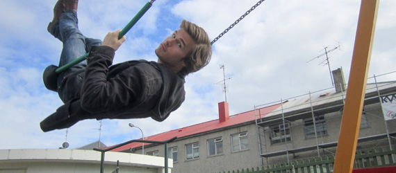 Colin Wright swinging in Reykjavik