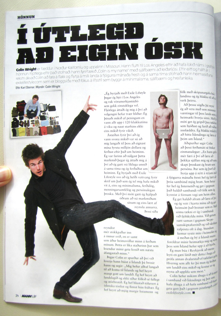 Colin Wright in Mannlif Magazine (Iceland)