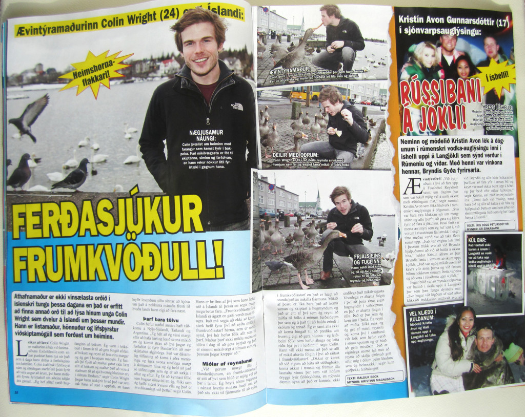 Colin Wright in Séđ og Heyrt Magazine (Iceland)