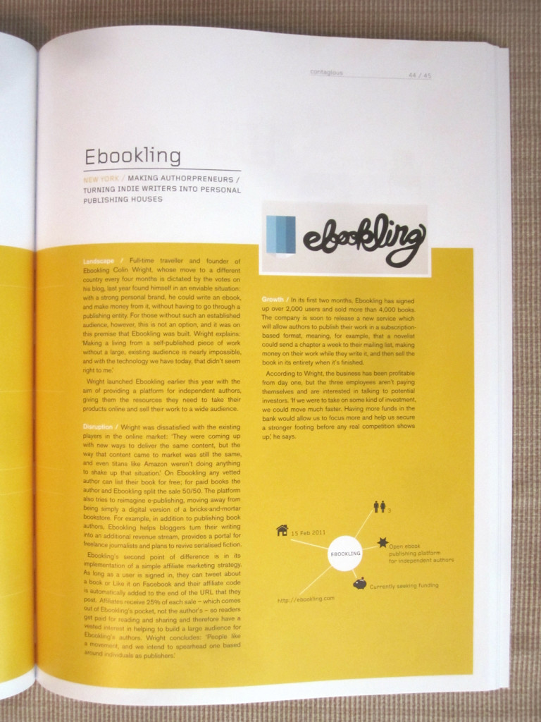 Colin Wright's company, Ebookling, in Contagious magazine (UK)